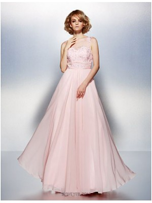 A Line Scoop Neck Floor Length Chiffon Prom Dress with Beading Appliques Ruching