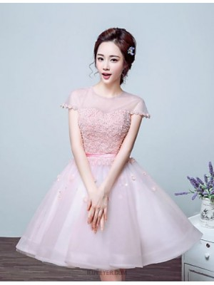 Ball Gown Jewel Neck Floor Length Tulle Australia Cocktail Party Prom Dress with Beading Flower