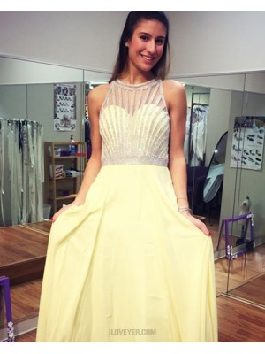 High Neck Yellow Beading Chiffon Floor Length Prom Dress