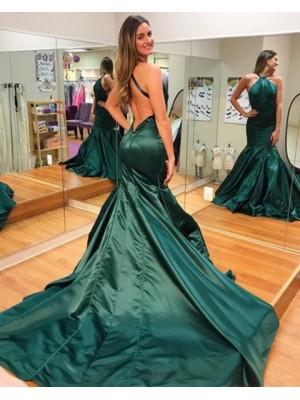 Long Simple High Neck Dark Green Mermaid Evening Dress