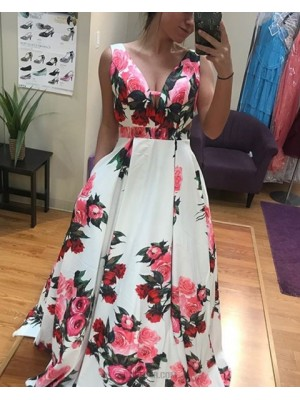 Long Floral Print Satin Prom Dress With Pockets