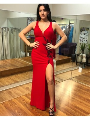 Long Scoop Red Appliqued Chiffon Sheath Prom Dress With High Slit