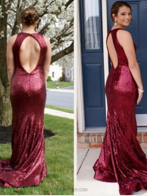 Jewel Mermaid Rose Red Sequined Mermaid Prom Dress With Open Back