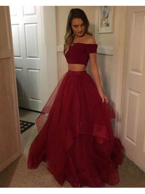 Two Piece Burgundy Ruffled Tulle Ball Gown Prom Dress