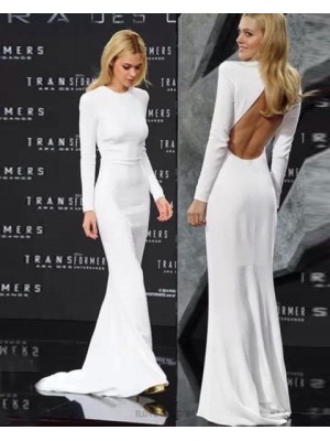 High Neck White Mermaid Evening Dress With Long Sleeve