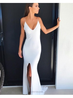 Long Spaghetti Straps White Mermaid Evening Dress With Front Slit