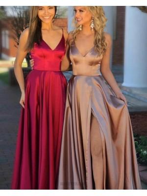 Long Satin Spaghetti Straps Burgundy Pleated Prom Dress With Slit
