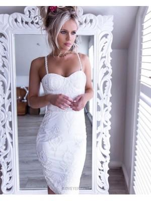 Sexy Square Lace White Knee Length Sheath Graduation Dress