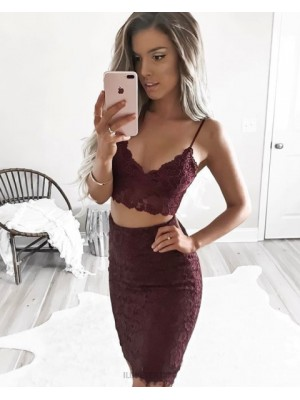 Two Piece Burgundy Spaghetti Straps Lace Tight Homecoming Dress