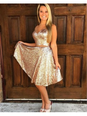 Knee Length Two Piece V Neck Gold Sequined Homecoming Dress
