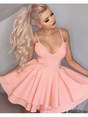 Simple Satin Spaghetti Straps Blush Pink Layered Homecoming Dress