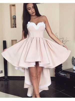 High Low Sweetheart Satin Pleated Homecoming Dress With Appliques