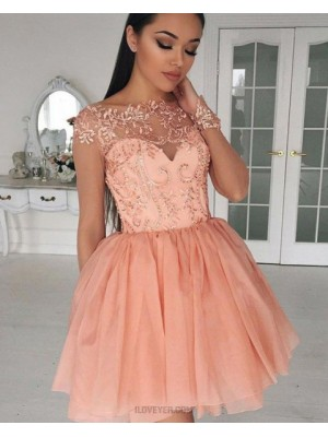 Bateau Sheer Lace Bodice Coral Pink Homecoming Dress With Long Sleeves