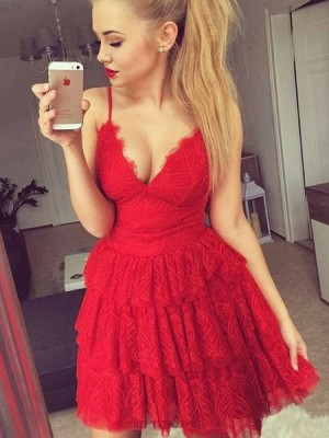 Fit And Flare Red Spaghetti Straps Layered Lace Homecoming Dress
