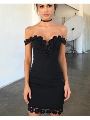 Off The Shoulder Tight Black Lace Appliqued Graduation Dress
