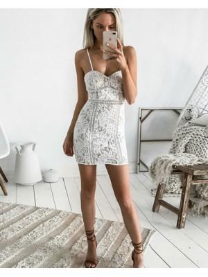 Amazing Ivory Spaghetti Straps Lace Tight Graduation Dress