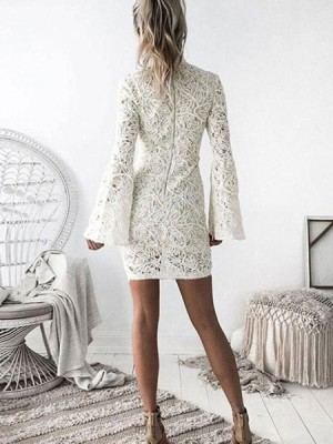 High Neck Ivory Lace Tight Graduation Dress With Bell Sleeves