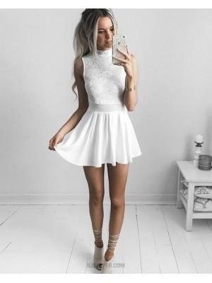 Amazing High Neck White Lace Bodice Chiffon Homecoming Dress