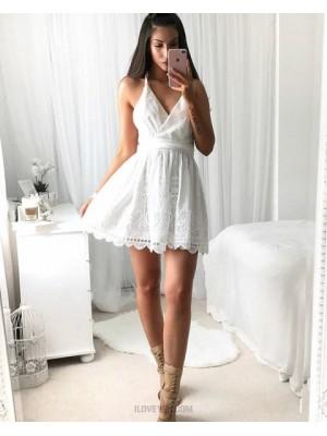 Elegant Spaghetti Straps White Lace Pleated Short Homecoming Dress