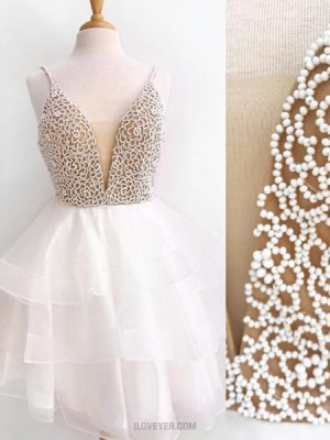Spaghetti Straps Ivory Beading Bodice Homecoming Dress With Layered Tulle Skirt