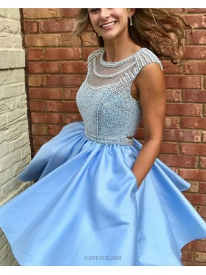Jewel Light Blue Beading Bodice Satin Pleated Homecoming Dress With Pockets