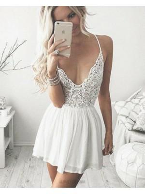 Spaghetti Straps Lace Bodice Short Homecoming Dress With Chiffon Skirt