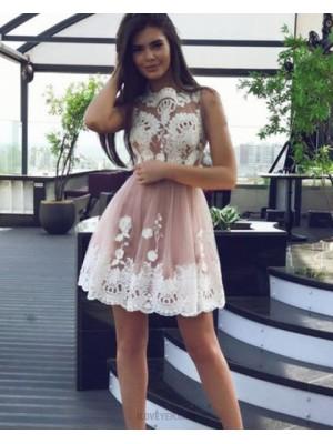 Jewel Lace Applique Bodice Blush Pink Tulle Graduation Dress