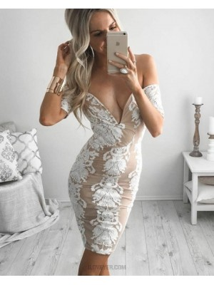 Off The Shoulder Sexy Tight Lace Short Graduation Dress With Short Sleeves