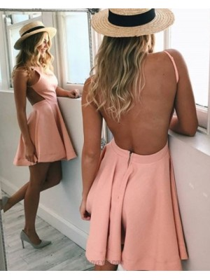 Simple Spaghetti Straps Coral Pink Satin Backless Homecoming Dress