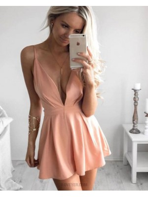 Simple Spaghetti Straps Deep V Neck Pink Satin Pleated Short Homecoming Dress