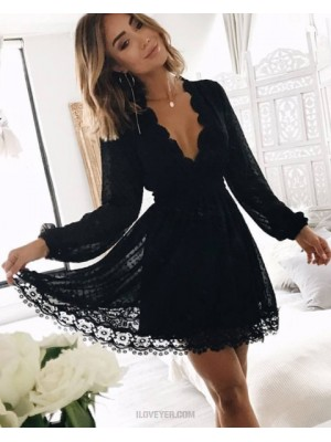 V Neck Black Lace Graduation Dress With Long Sleeves