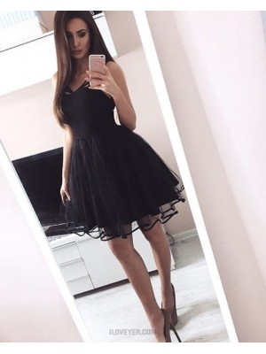 Simple Square Black Satin And Tulle Pleated Short Homecoming Dress