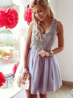Lavender V Neck Beading Homecoming Dress With Pleated Tulle Skirt