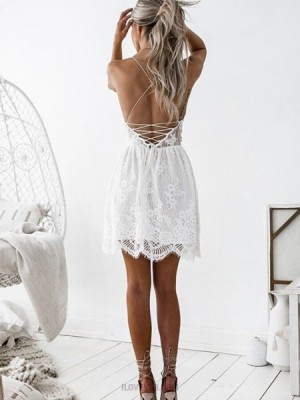Elegant Aline Ivory Spaghetti Straps Lace Pleated Homecoming Dress
