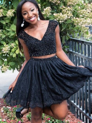 V Neck Beading Red Two Piece Homecoming Dress With Lace Skirt