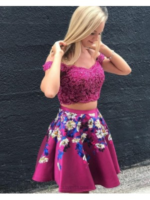 Off The Should Two Piece Lace Bodice Rose Red Homecoming Dress With Print Skirt