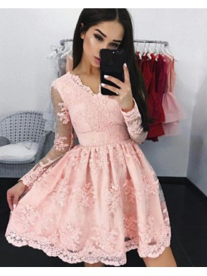 Elegant Blush Pink V Neck Pleated Homecoming Dress With Long Sleeves