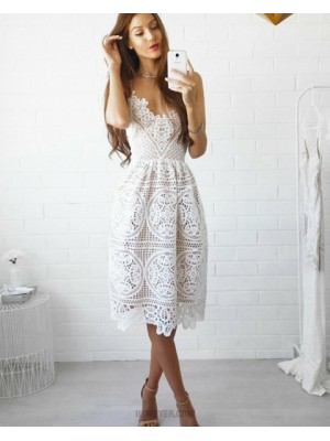 V Neck Lace Sheath Knee Length Spaghetti Straps Graduation Dress