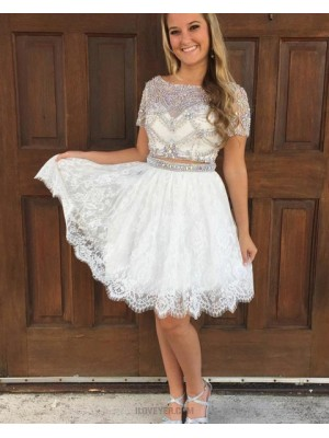 Bateau Beading Sheer Two Piece White Homecoming Dress With Lace Skirt
