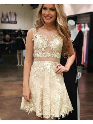 Champagne Lace Appliqued Sheer Jewel Homecoming Dress