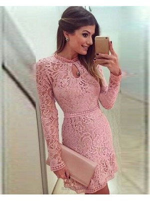 Jewel Lace Blush Pink Tight Graduation Dress With Long Sleeves