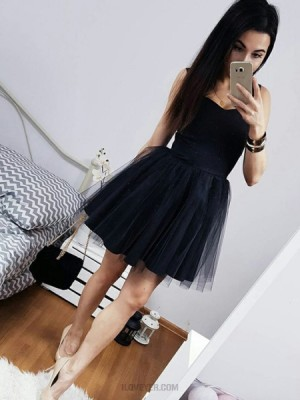 Simple Black Square Satin And Tulle Short Homecoming Dress