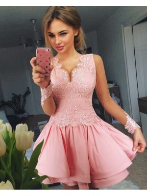 A Line V Neck Blush Pink Lace Bodice Satin Homecoming Dress With Long Sleeves