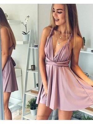 Convertible Lavender V Neck Satin Short Homecoming Dress
