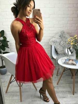 A Line Beading Halter Tulle Red Homecoming Dress