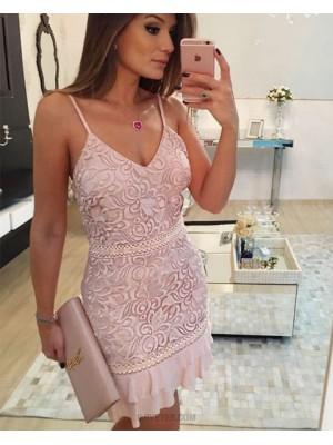 Spaghetti Straps Nude Lace Tight Graduation Dress With Layered Hemlines