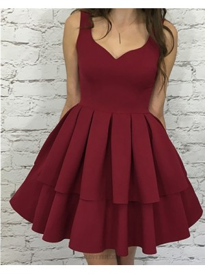 Simple Square Layered Pleat Rose Red Satin Short Homecoming Dress