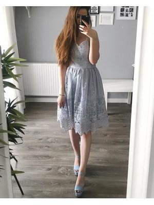 Double Spaghetti Straps Knee Length Dusty Blue Lace Graduation Dress