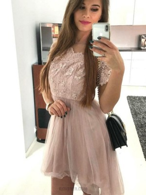 Bateau Pink Lace Bodice Homecoming Dress With Short Sleeves