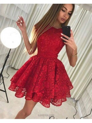 Jewel Fit & Flare Red Lace Layered Pleat Homecoming Dress